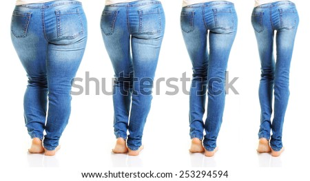 Woman in blue jeans isolated on white background from fat to thin. Diet concept. - stock photo