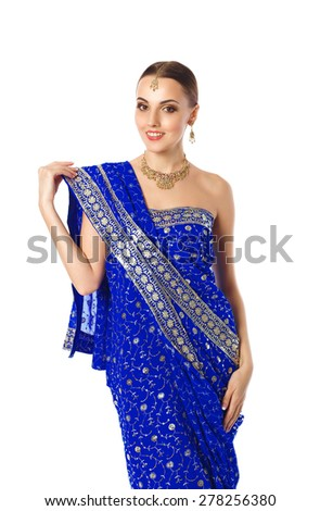 Woman In Bright Blue Indian Traditional Mekhla Clothes And Accessories. Isolated On White Background - stock photo
