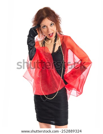 Woman in cabaret style making crazy gesture