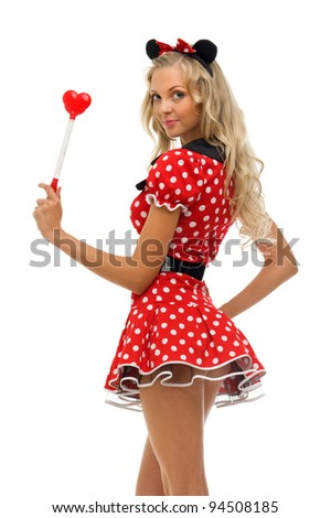 woman in carnival costume.  mouse shape. Isolated image - stock photo