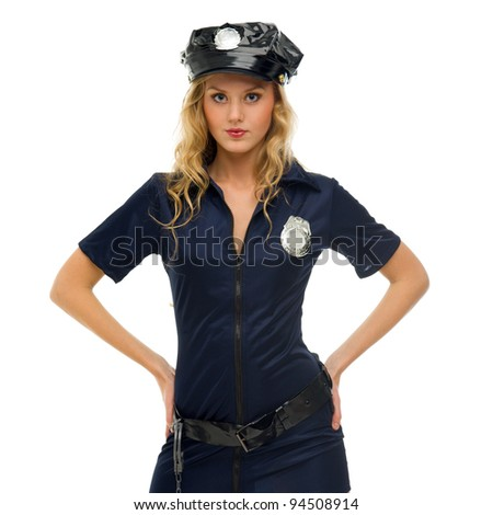 woman in carnival costume.  Police woman shape. Isolated image