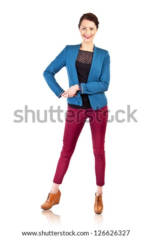 Woman in casual modern style on white background