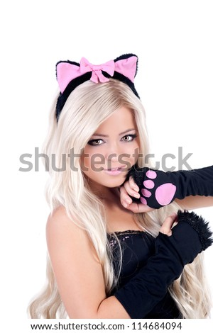 woman in cat-woman costume - stock photo