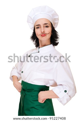 Woman in chef's costume with painted mustaches isolated on white - stock photo