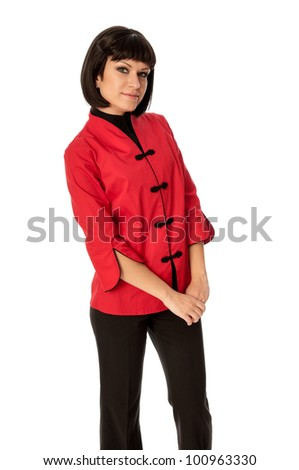 woman in Chinese dress at high fashion week in Paris - stock photo
