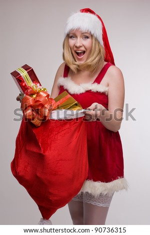 woman in Christmas Mrs Santa Claus costume