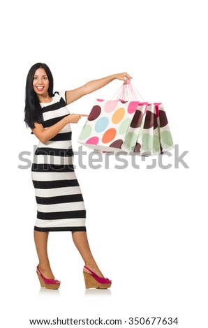 Woman in christmas shopping concept on white