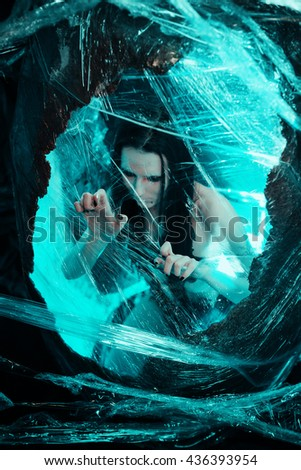 Woman in cocoon - stock photo