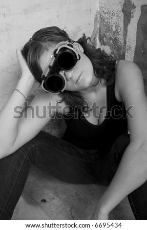 Woman in corner - stock photo