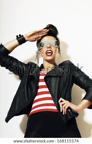 woman in creative glasses - stock photo