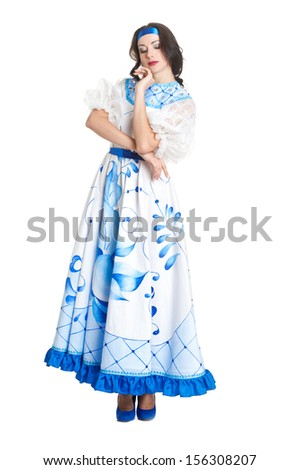Woman in dress with russian traditional blue ornamental lines in gzhel style