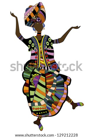woman in ethnic style dancing his beautiful African dance - stock photo