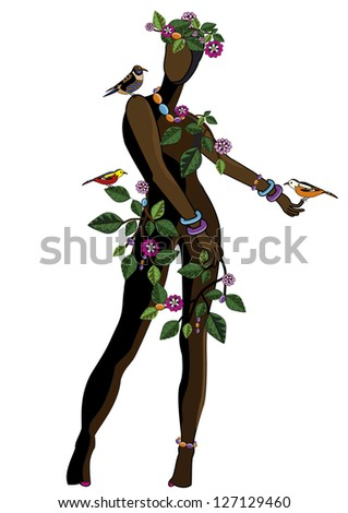 woman in ethnic style with flowers and birds on a white background - stock photo