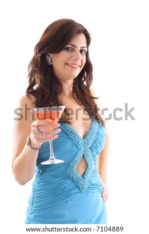 woman in evening dress with cocktail full length angle