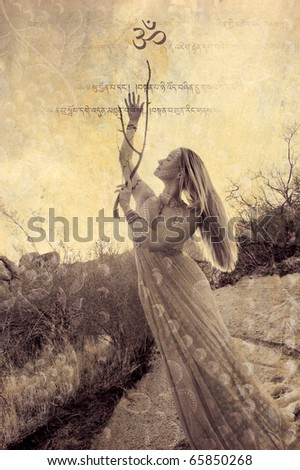 Woman in formal gown and Om symbol in nature. Photo based illustration.
