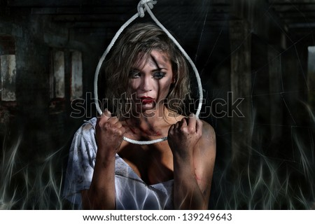 woman in front of a rope committing suicide