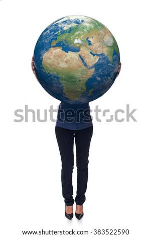 Woman in full length holding earth globe in her hands, Africa and Europe in front, over white background