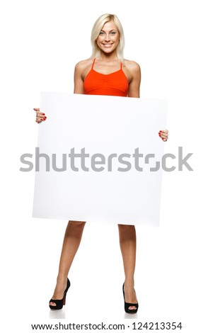 Woman in full length holding empty banner, over white background