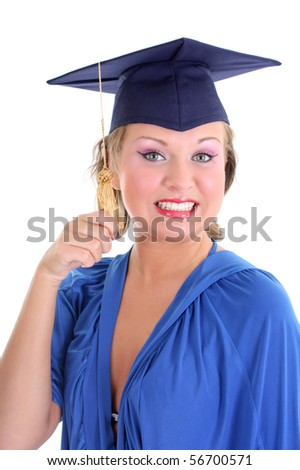 Woman in graduation cap over white