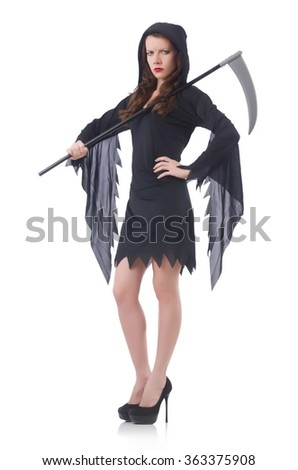 Woman in halloween concept with scythe - stock photo