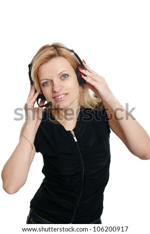 woman in headphones on a white background