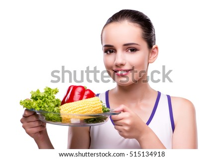 Woman in healthy eating concept