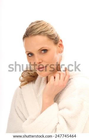 woman in her bathrobe - stock photo