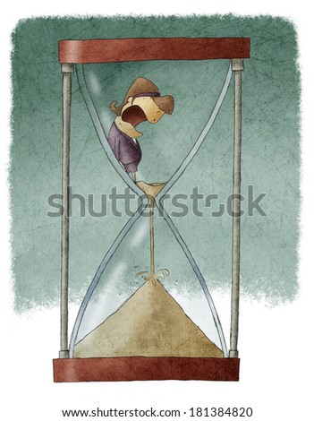 Woman in hourglass - stock photo