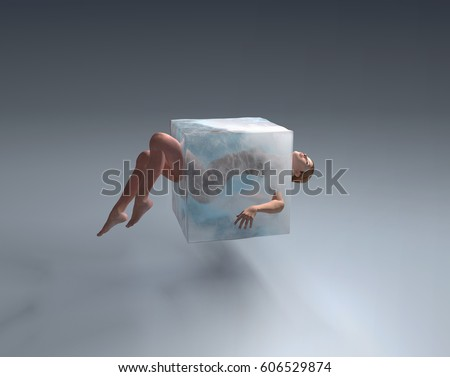 Woman in ice cube, 3d illustration