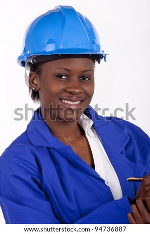 Woman in industrial clothing. - stock photo