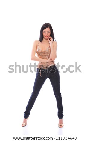Woman in jeans isolated on white