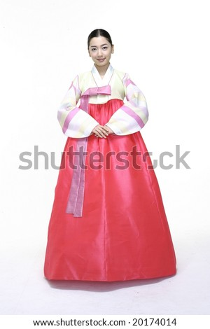 Woman in Korean Traditional Dress