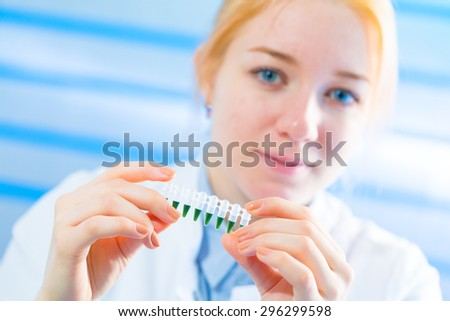 Woman in laboratory developed of vaccines - stock photo