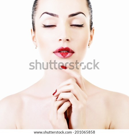 Woman in love. Beautiful girl with creative makeup with heart on her lips. High key. - stock photo