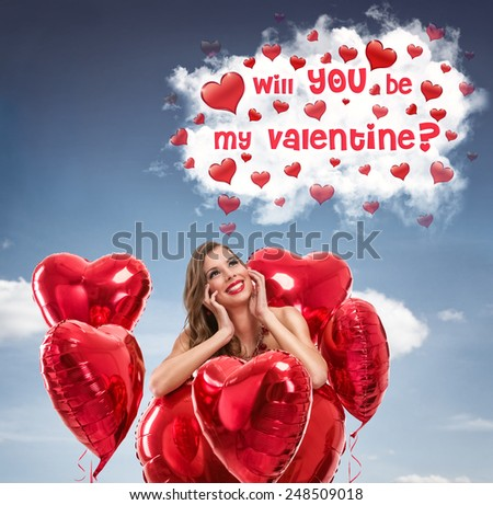 woman in love daydreams, fantasizing about her sympathy  - stock photo