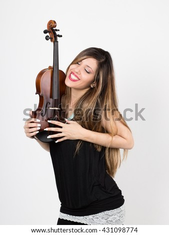 woman in love with her violin