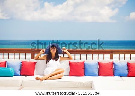 woman in luxury resort in bali - stock photo