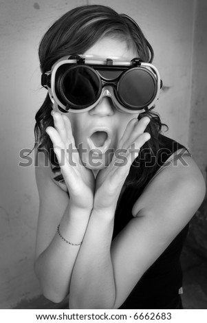 Woman in mask, shouting - stock photo