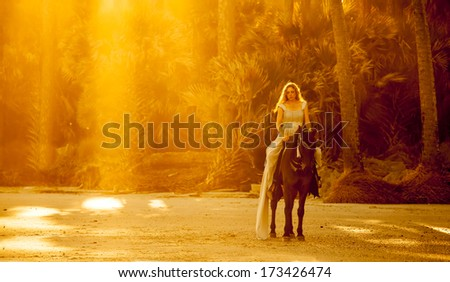 woman in medieval dress on horseback on forest beach - stock photo
