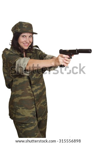 Woman in military uniform - stock photo