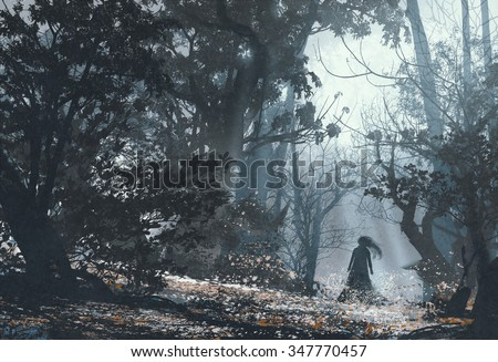 woman in mysterious dark forest,illustration painting