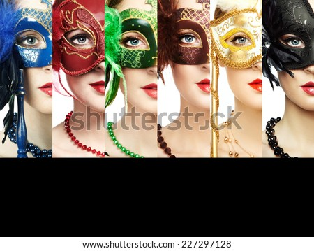 Woman in mysterious Venetian mask. Beauty collage. Faces of women. Fashion photo. Group of people - stock photo