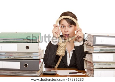 Woman in office is desperated and puts sling around head for suicide.