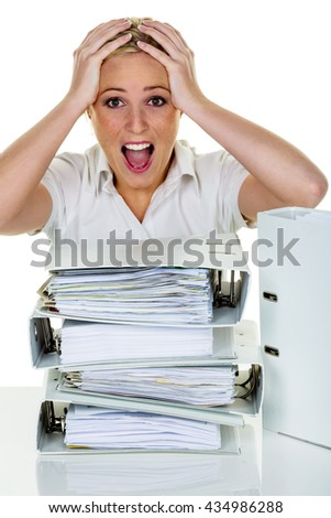 woman in office with burnout - stock photo