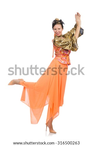 Woman in orange dress isolated on white