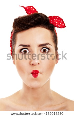 Woman in Pin-up style on white background shock - stock photo