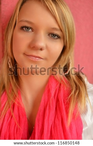 woman in pink - stock photo