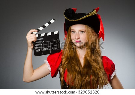 Woman in pirate costume - Halloween concept - stock photo