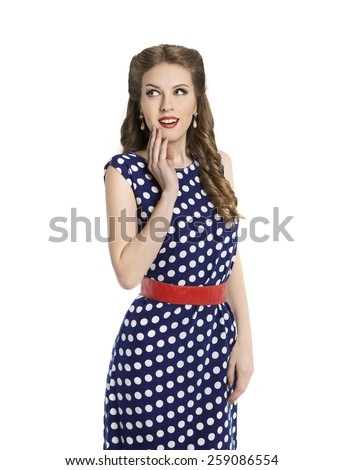 Woman in Polka Dot Dress, Retro Girl Pin Up Hair Style, Beauty Make Up and Hairstyle, Isolated Over White Background - stock photo