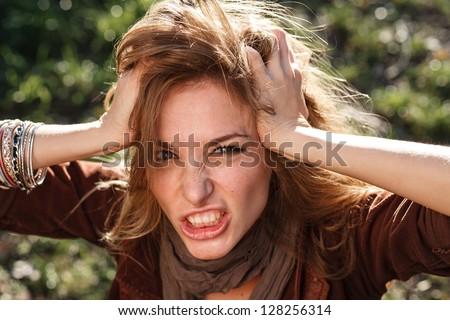 woman in rage - stock photo